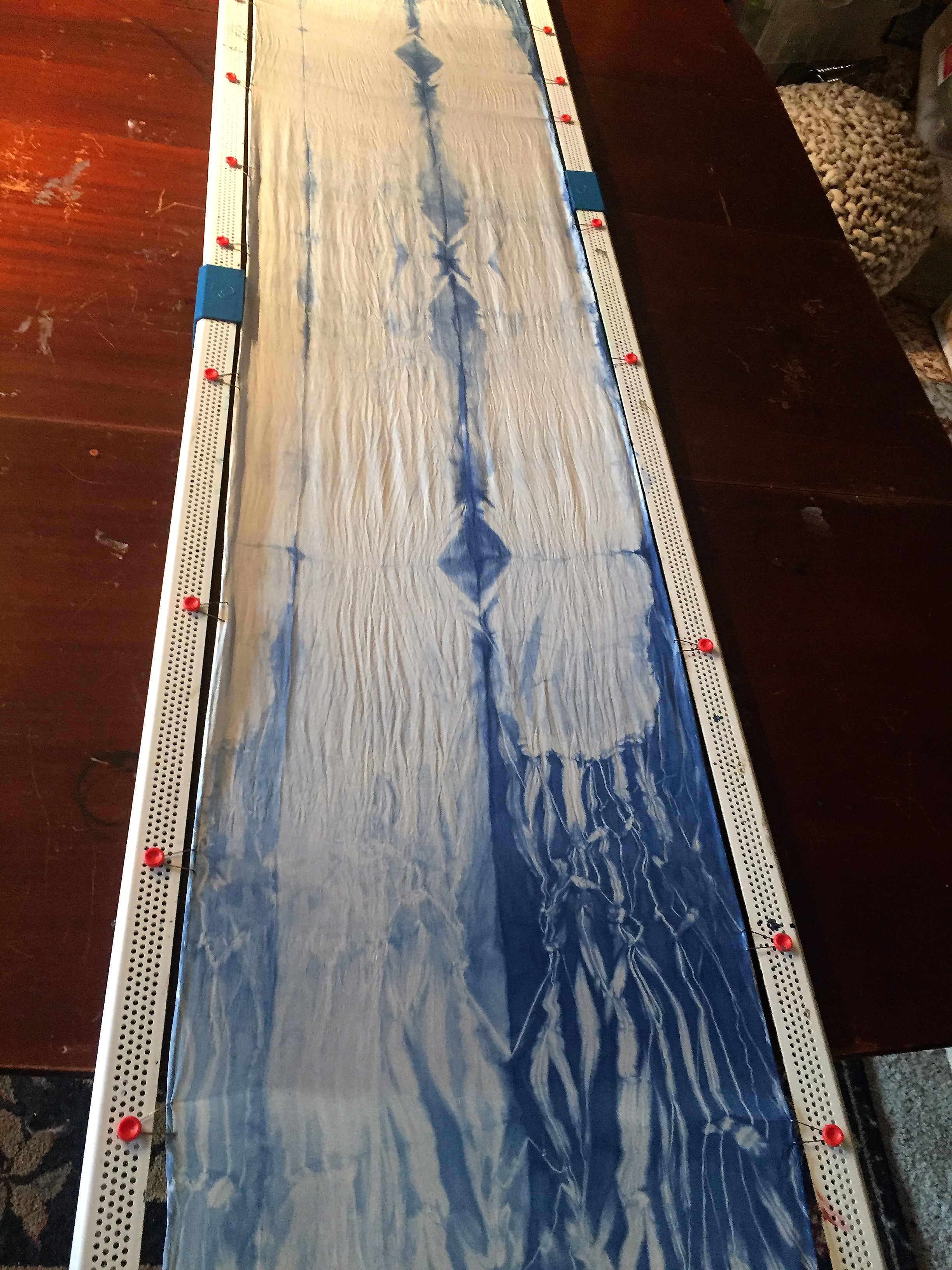 Stretched Shibori Dyed Silk